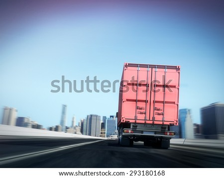 White truck with Red cargo container on blurry asphalt road with city  #293180168