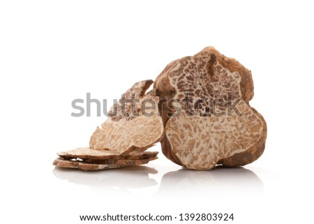 White truffle cross section and slices isolated on white background. Сток-фото ©