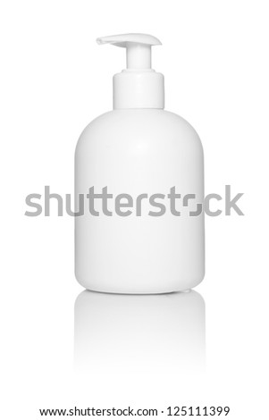 White tube bottle of shampoo, conditioner, hair rinse, mouthwash, on a white background with reflection - stock photo