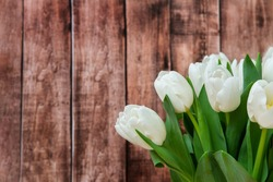 White tulips on wooden background, closeup. Fresh spring flowers. Copy space. Wallpaper or holidays card.