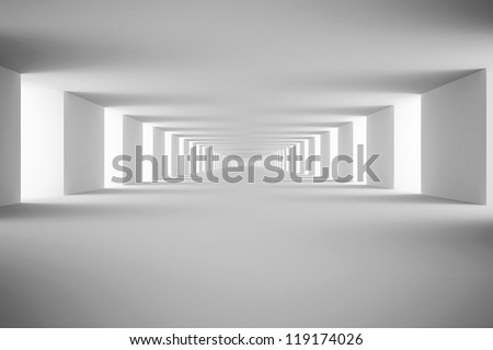 White tunnel. 3d render
