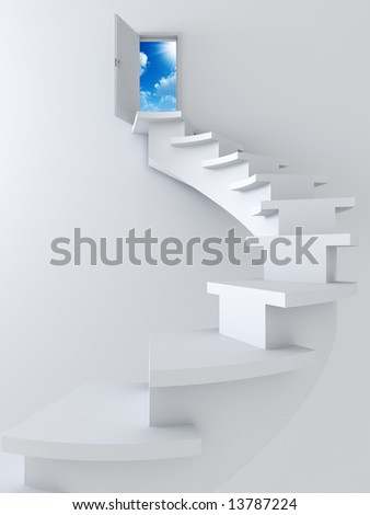 White twisted ladder and opened door with blue sky and sun