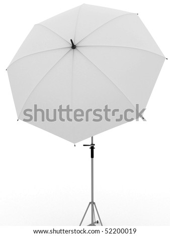 White umbrella for photography. Isolated on white.