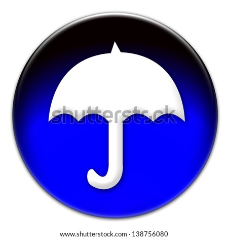 White umbrella icon illustration on a blue glassy button isolated over white background