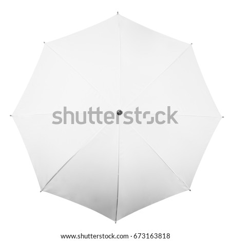 White umbrella isolated on white background. Top view #673163818