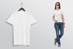 White v neck plan shirt on woman model in blue denim jeans pant. Hanging white half sleeve shirt on wall