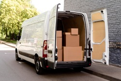white van  with delivery packages