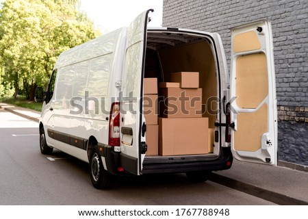 white van  with delivery packages Stock photo ©