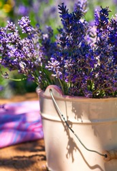 White vase with lavender bouquet on wooden, on lavender field background
