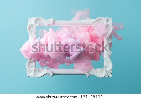 White vintage frame on pastel blue background with abstract pink cloud shapes. Minimal border composition.