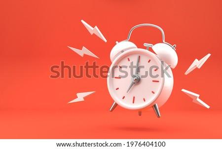 White vintage ringing alarm clock on bright red background. Modern design, 3d rendering.