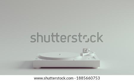 White Vintage Turntable Record Player 3d illustration render Stockfoto ©