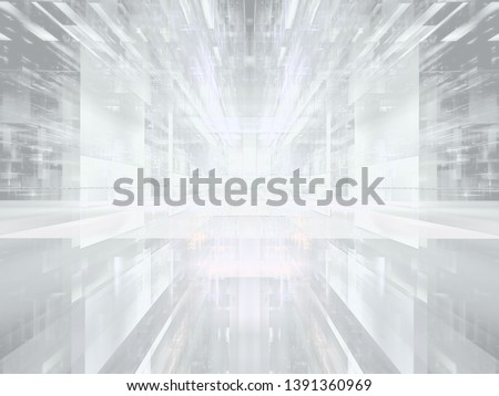White virtual  reality concept background. Abstract computer-generated 3d illustration. Portal or hall with perspective effect. For web design, banners, covers.