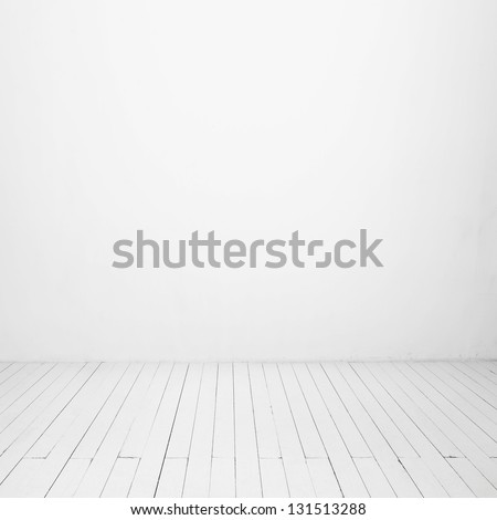 white wall and wood floor - Shutterstock ID 131513288