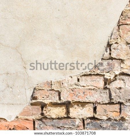white wall background texture bricks and plaster - stock photo