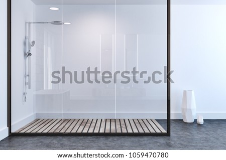 White wall bathroom interior with a concrete floor, a shower stall with a glass wall and a white vase in the corner. 3d rendering mock up