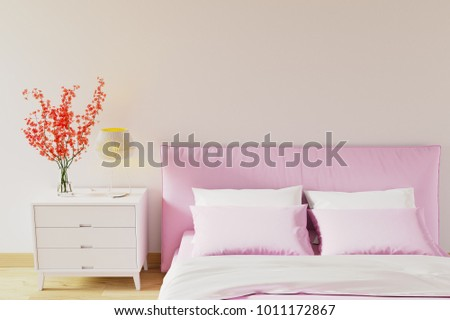 White wall bedroom Minimal style Interior Design with pink bed. 3D Rendering. 3D Illustration. Pastel colors.