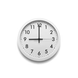 White wall clock isolated on white background. On the clock, nine on the clock.