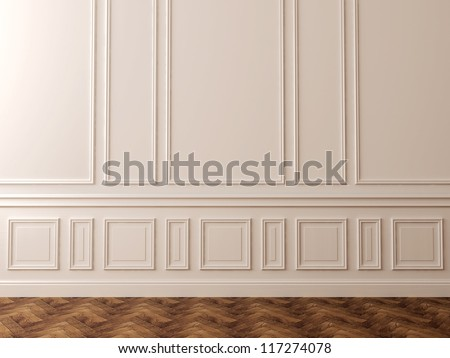 White wall in a classic style and a beautiful dark flooring can be used as background