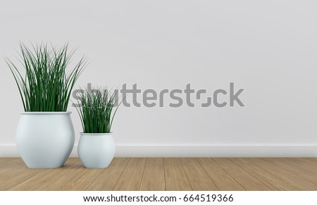 White wall interior with plant vases on bright wood floor. 3d rendering - Shutterstock ID 664519366