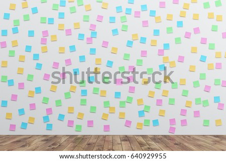White wall is covered by many colored sticky notes. There is a wooden floor in the room. 3d rendering.