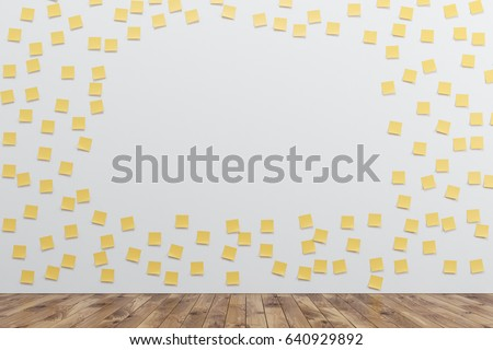 White wall is covered by many yellow sticky notes and an opening in the middle. There is a wooden floor in the room. 3d rendering, mock up