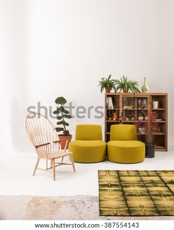white wall modern living room interior decor green armchair and wooden bookshelf with\ green rug concept