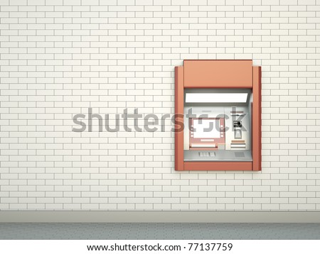White wall with ATM machine. 3D render.