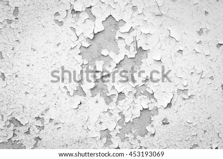 white wall with cracks, Grungy cracked white wall paint peeling off