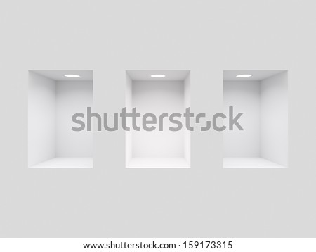 ShutterStock White wall with three lit niches 159173315