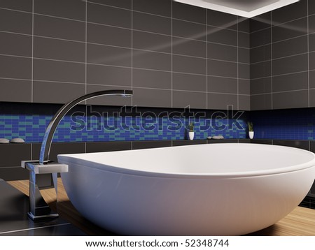 White washbasin in black blue bathroom 3d render - stock photo