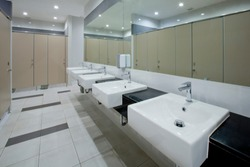 White washbasin in the public restroom