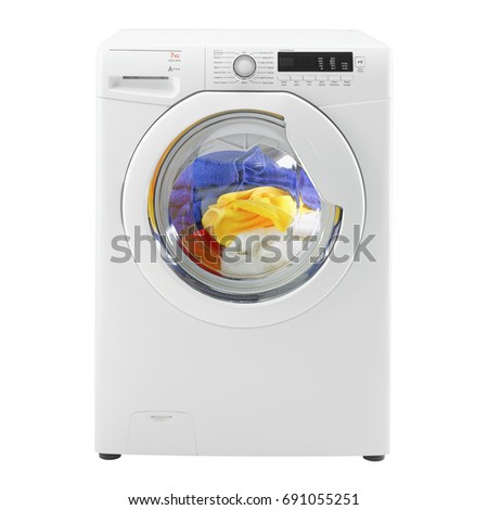 White Washing Machine Isolated on White. Front View of White Washer Machine. Front Load Washer Machine with Electronic Control Panel. Electric Appliances. Household Appliances. Home Appliances #691055251
