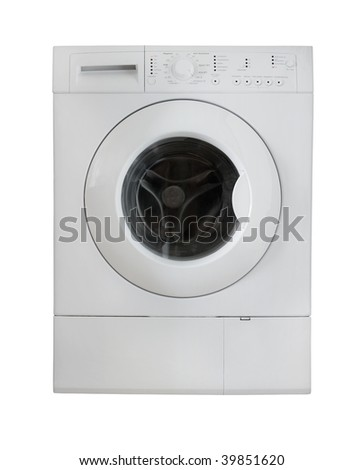 white washing machine. run wash clothes. isolated background.