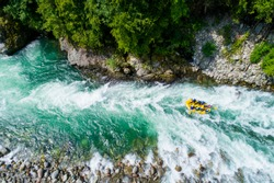 White water rafting on alpine river. Sesia river, Piedmont, Italy.
