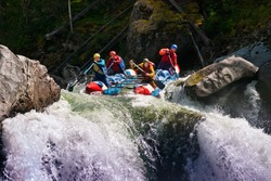 White water rafting on Chulishman River in Russia
