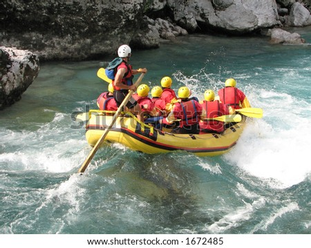 White water rafting on the rapids of river Soca Slovenia Triglav national park
