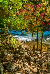 White Water Rapids Conservation Area Minden Ontario Canada on a Autumn sunny day