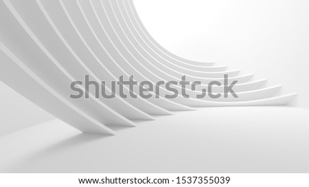 White Wave Background. Abstract Minimal Exterior Design. Creative Architectural Concept. 3d Illustration
