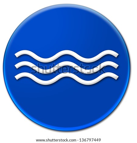 White waves illustration on a blue button isolated over white background