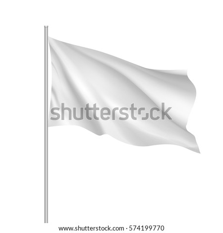 White waving flag template. Clean horizontal flag, for your design. Empty blank of flag on flagpole.  3d mock-up. #574199770