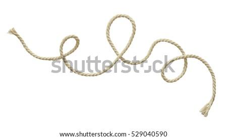 White wavy rope isolated on white #529040590