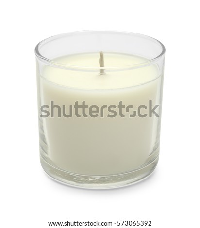 White Wax Candle in Glass Isolated on White Background. #573065392
