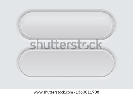 White web interface buttons. Oval 3d icons. Illustration. Raster version #1360011908