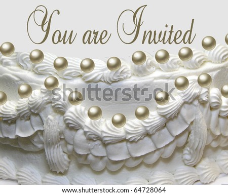 White wedding cake with pearls isolated on white background.