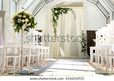 White Wedding Ceremony Decorations Indoor Wedding When Bad Weather