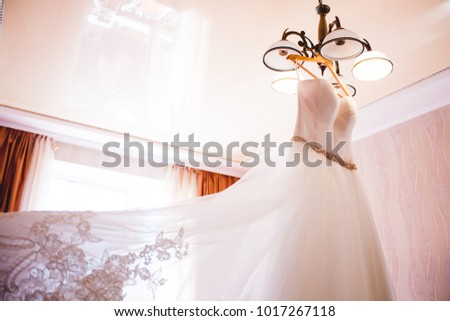 White wedding dress on hanger. Bridal fashion and beauty. Beautiful  elegance cloth, gown for bride. Marriage celebration elegant background. Fabric luxury clothing. #1017267118