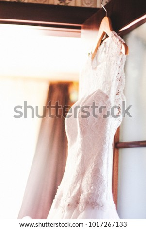 White wedding dress on hanger. Bridal fashion and beauty. Beautiful  elegance cloth, gown for bride. Marriage celebration elegant background. Fabric luxury clothing. #1017267133
