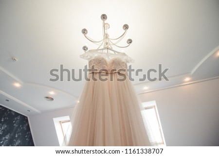White wedding dress on hanger. Bridal fashion and beauty. Beautiful  elegance cloth, gown for bride. Marriage celebration elegant background. Fabric luxury clothing. #1161338707
