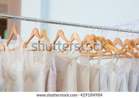 White Wedding dresses on trempel in shop